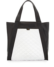 Foley + Corinna NWT Cushion Quilted Leather Tote Bag, Black/White