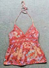 WOMEN'S  HALTER NECK SUMMER TOP Size 12-14 Red Floral, Crotchet*BOHO*SURF*