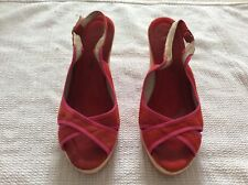 Red / Orange wedge sandles size 5.  Suede With Striped Wedge