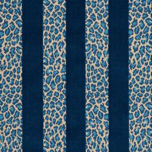 Schumacher Leopard Epingle Fabric- Guepard Stripe Velvet / Mediterranean 1.40 yd