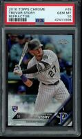 2016 Topps Chrome Trevor Story Refractor RC #45 PSA 10 Gem Mint Rookie