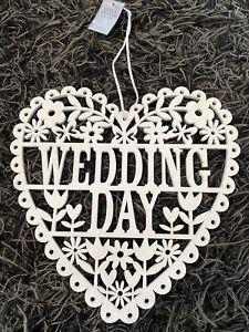 Gisela Graham Wedding Day Large White Wooden Hanging Heart Decoration 26cm - 677