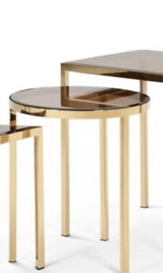 SOLD OUT Made.com Nova Brass Side Table round amber tempered glass
