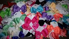 WHOLESALE LOT 100 FINISHED MONOGRAMMED HAIR BOWS-RANDOM MIX-INITIAL MONOGRAM