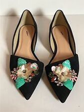 JCrew Collection Sloan Jeweled Suede d'Orsay Flats 7 Dark Pacific E7567