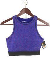 Reebok Womens Size Small High Neck Cotton Sports Bra Blue NWT