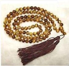 Tibetan 108 Tiger Eye Prayer Buddha Bead Necklace 8mm