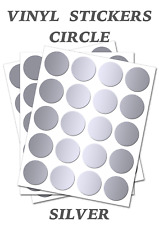 50 Round Silver Circles - Self Adhesive Waterproof Vinyl Labels  size 10mm