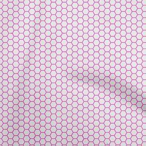 oneOone Cotton Flex Fuschia Pink Fabric Geometric Hexagon Craft-9wO