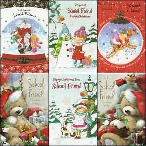 'TO A SCHOOL FRIEND' CHRISTMAS GREETING CARD - MULTIPLE DESIGN'S - FREE P&P
