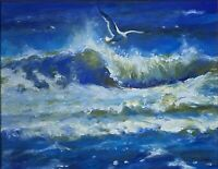 """Liftoff.""  Seagull Over Breaking Wave Painting Oil  Canvas Board 11""x 14."""