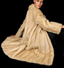 L awesome cream beige bright mink fur coat mantle soft Visone vison long jacket