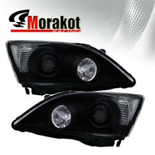 For 07-12 Honda CRV Projector Black Housing Headlights Clear Reflector Lamps