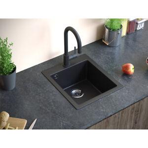 BERGSTROEM Evier cuisine composite de granit noir « Venise »