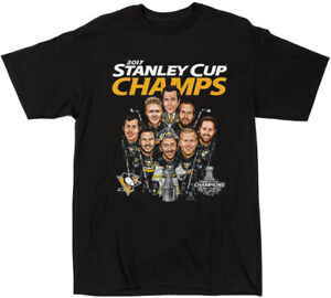 2017 Stanley Cup Champs Pittsburgh Penguins Caricature T-Shirt Black TK1620