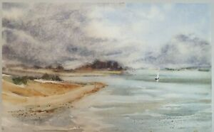 Impressionist seascape watercolour signed Hutton '77 on 54 x 33 cm paper I12P262