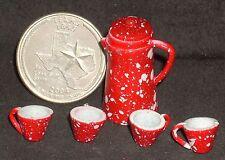 Coffee Pot & Mugs Red Splatterware 1:12 #D6924 Dollhouse Miniature Chuckwagon