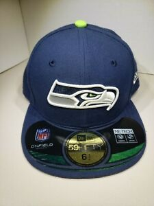 New Seattle Seahawks NFL On-Field New Era 59Fifty Fitted Navy Hat Size 6.5 52cm