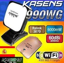 ADAPTADOR WIFI 6000MW KASENS 990WG ANTENA 60 DBI 6W-ENVIOS DESDE ESPAÑA