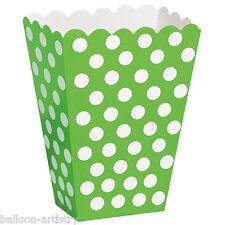 8 Verde Bianco Polka Dot Spot Stile Party Di Carta Bottino trattare favore sacchetti scatole