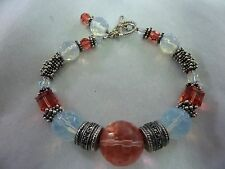 "Silver Bracelet Marcasites Pink Pale Blue Sea Opal Glass Beads 8"" I-3989"
