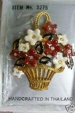 Flower Basket Pin Brooch Thailand new Fancy Gold Tone Metal Enamel Crystal