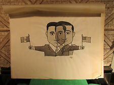 Original Political Cartoon Comic Drawing Lot By Michael Ramus Mexico Am Relation