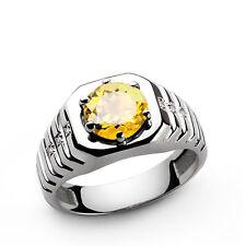 Solid 925 Sterling Silver Citrine & White Topaz Gem Stone Men's Ring Size 8 9
