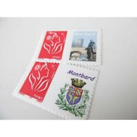 TIMBRES PERSONNALISES N°3744A MARIANNE LAMOUCHE ROUGE, VIGNETTE MONTBARD