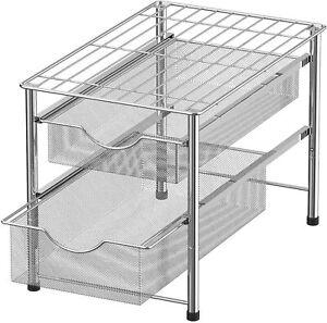 2 Tier Stackable Sliding Double Basket Under Sink Cabinet Organizers Drawer