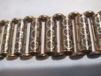 Bracelet VTG Spain Faux Damascene on Brass Style Costume WIDE