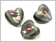 3 Glasperlen Silberfolie grau Herz mit Rose 17mm