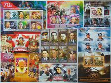 WAR COMMANDERS & LEADERS 100 diff sheets & sets MNH Lot FREE SHIP Sale #SL02a