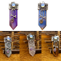 Natural Amethyst Opal Sword Shape Pendant DIY Necklace Bracelet Jewelry Latest