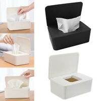 Home Office Wet Wipes Dispenser Holder Tissue Storage Box Case with Lid White UK