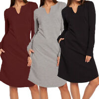 Women Long Sleeve Loose Sweatshirt Casual Dress Sweater Mini Short Shirt Dress