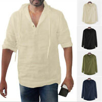 Men Tops Holiday Summer Hooded Basic Tee Fashion Shirt Party Loose Casual