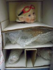 Danbury Mint Porcelain Doll Tommy Elke Hutchens Little Boy Pilot Wood Plane 1992