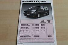 150309) Renault Espace J11 - Preise & Extras - Prospekt 02/1990