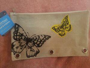 Canvas Pencil Pouch. Butterflies.