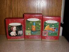 3 Hallmark Ornaments w/ Little Little Golden Books Poky Puppy, Scuffy & Tootle