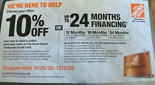 Home Depot Coupon 10% Off pay w/HD Credit Card Exp 12/02/20 Online/Store