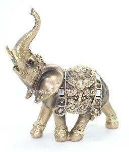 "Feng Shui 4.5"" Elephant Trunk Statue Wealth Lucky Figurine Gift & Home Decor."