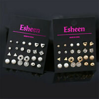 12Pairs Fashion Women Pearl Crystal Heart Stud Triangle Earring Set Jewelry NEW
