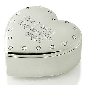 Personalised Heart Shaped Trinket Box Set Diamante Edge FREE Engraving Birthday