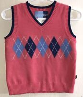Good Lad Baby Girl's Sz 18M Sweater Vest Pink V-Neck Blue Argyle Pattern Cotton