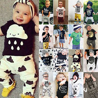Infant Kids Toddler Boys T-shirt Tops Pants Jumpsuit Casual Clothes 2Pcs Outfits