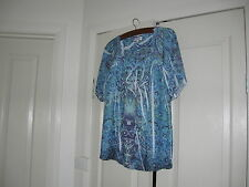 Ladies Top Size 14  Blue, Navy  & White Design Millers Polyester Short Sleeves