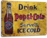 Pepsi Cola Cold Vintage Rustic Retro Tin Metal Sign