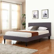 Grey Linen Fabric Upholstered Platform Bed with Wooden Slats, Queen